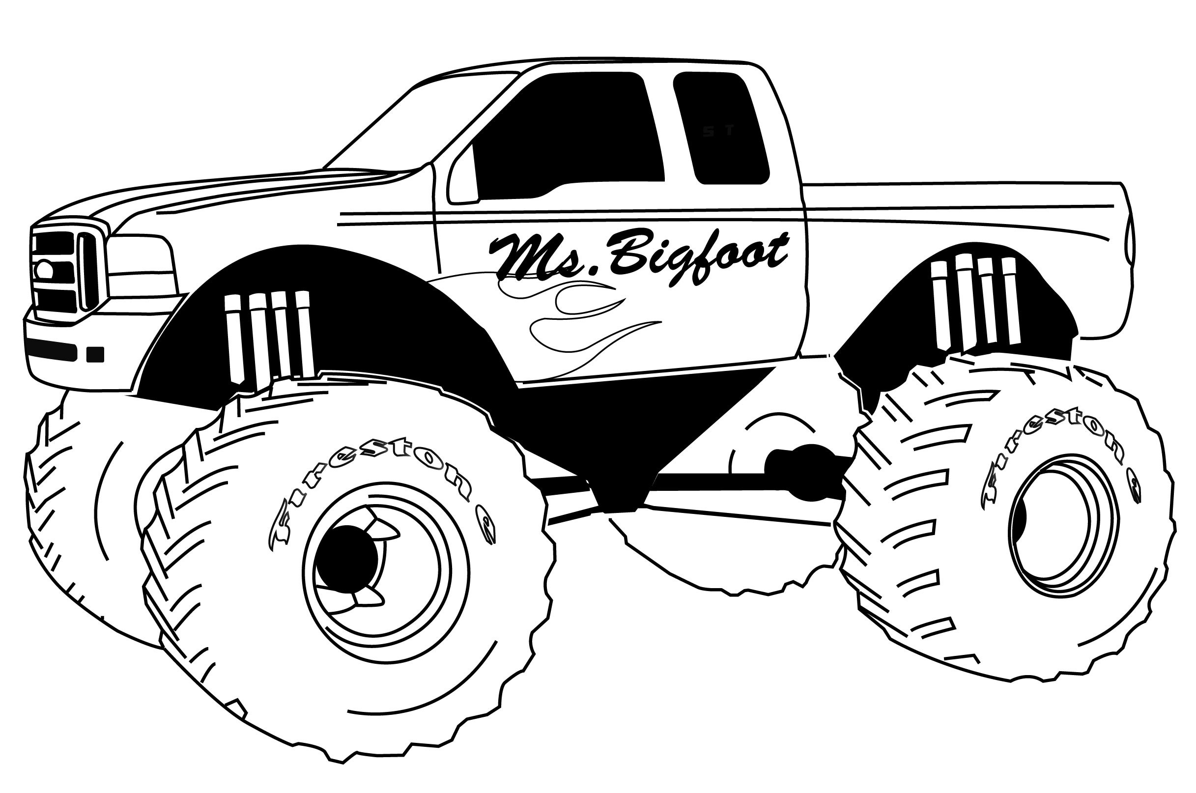 Free printable coloring pages vehicles - Monster Truck Color Pages