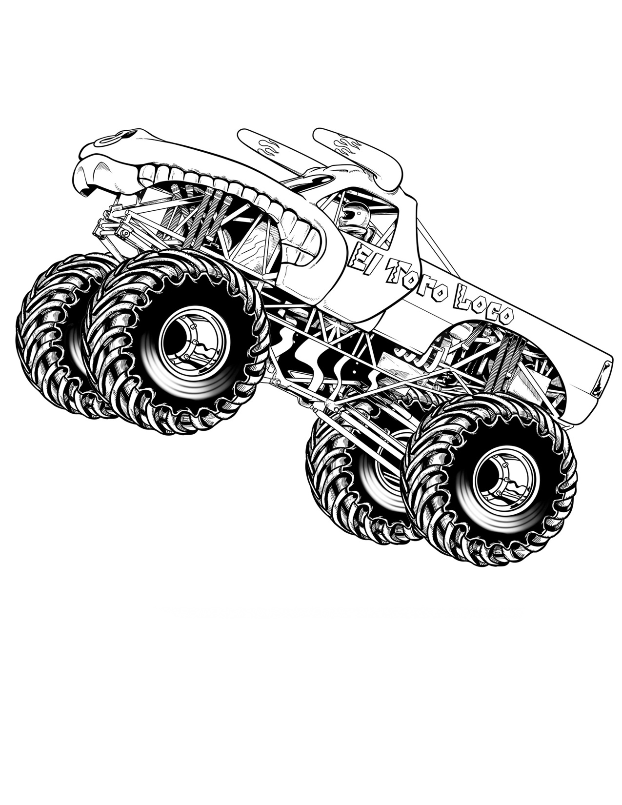 It's just a photo of Unforgettable Monster Truck Printable Coloring Pages