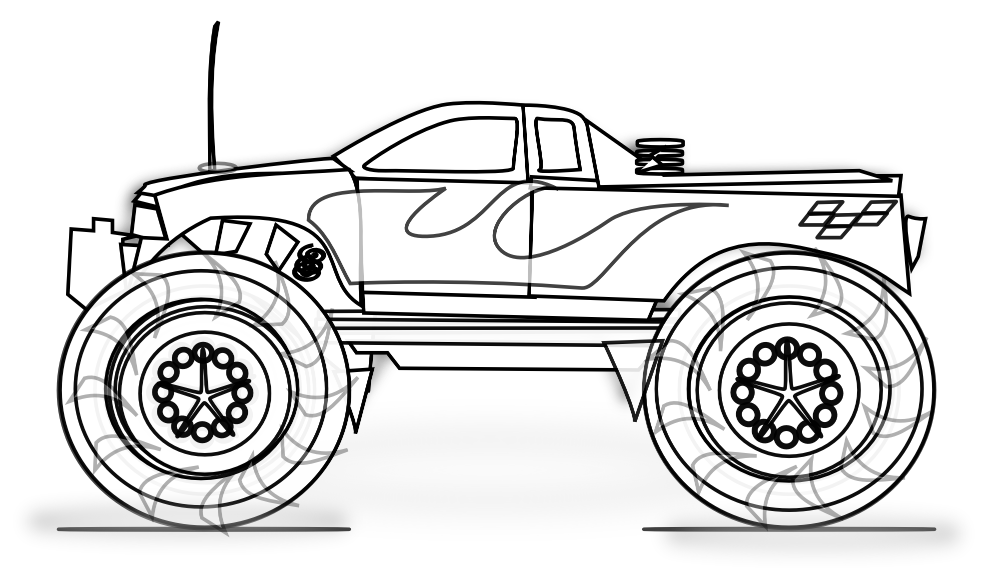 Free printable monster truck coloring pages for kids for Free truck coloring pages