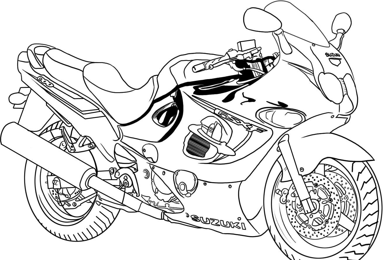 motorcycle printable coloring pages - Free Printable Coloring Page