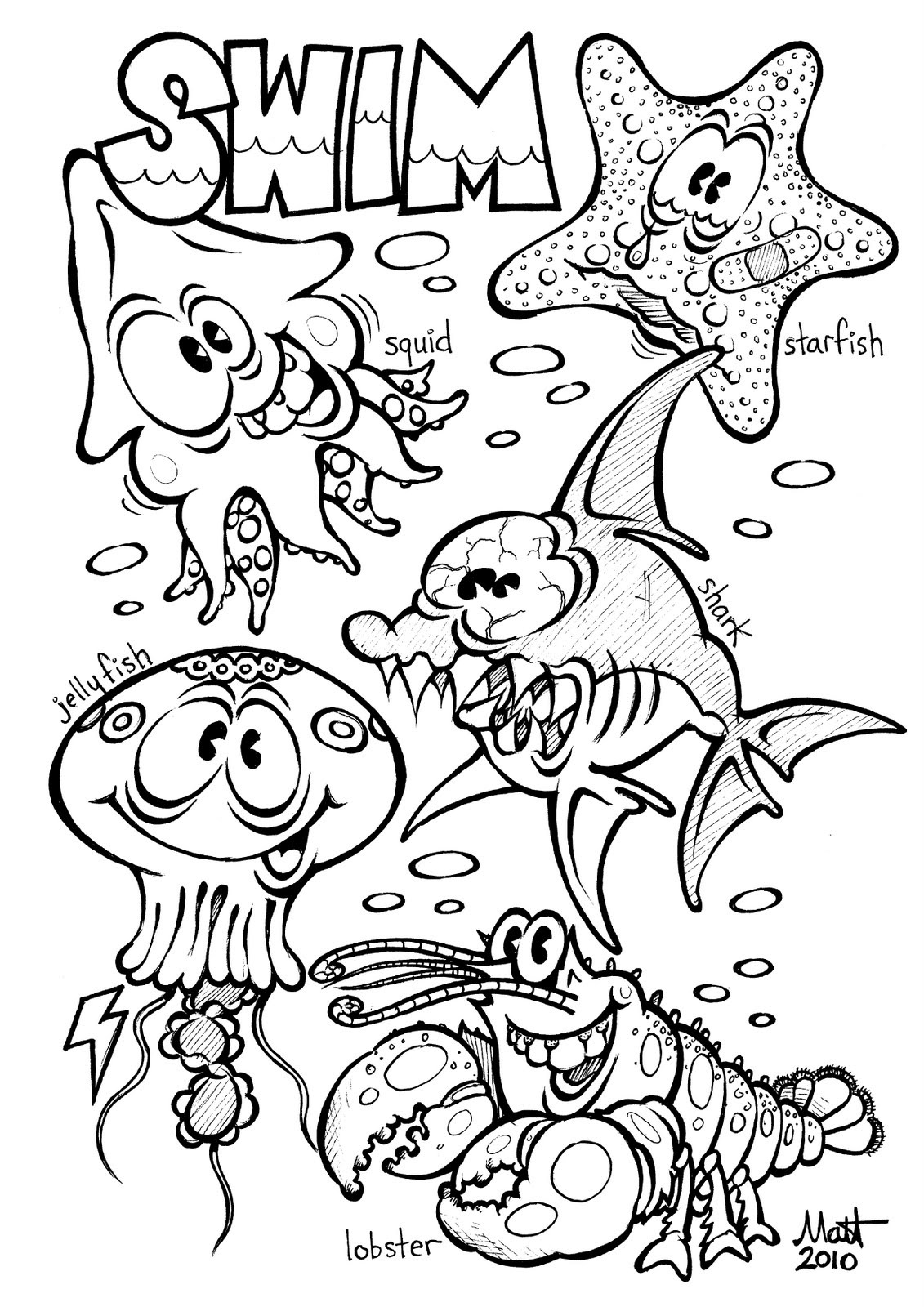 Free animals coloring pages for kids to print - Ocean Animal Coloring Pages