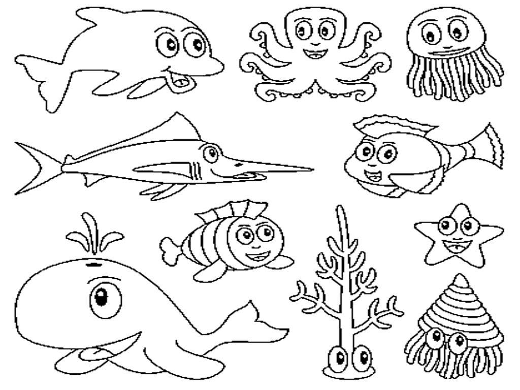 ocean creatures coloring pages - photo#9