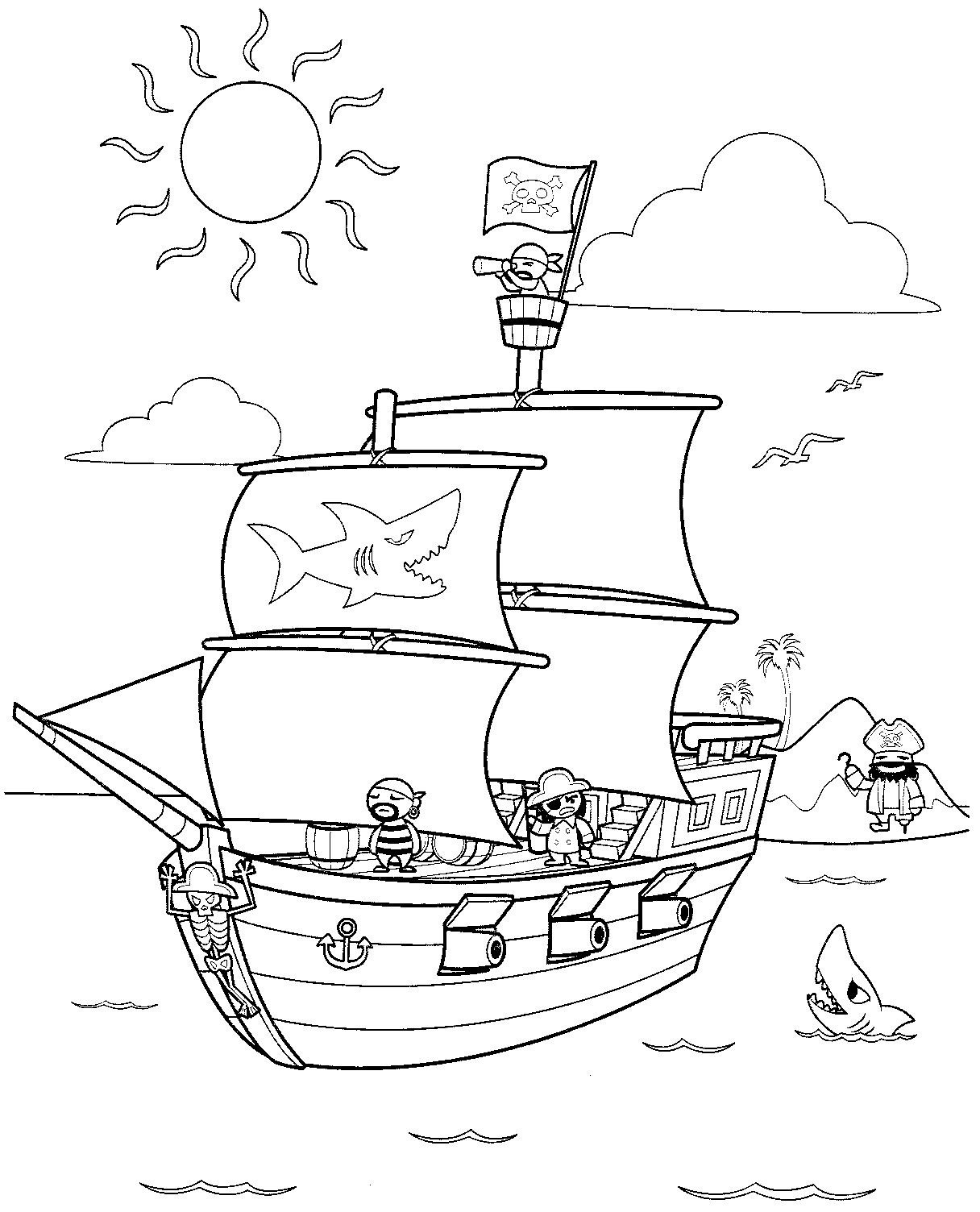 cute pirate ship coloring pages photo2 - Pittsburgh Pirates Coloring Pages