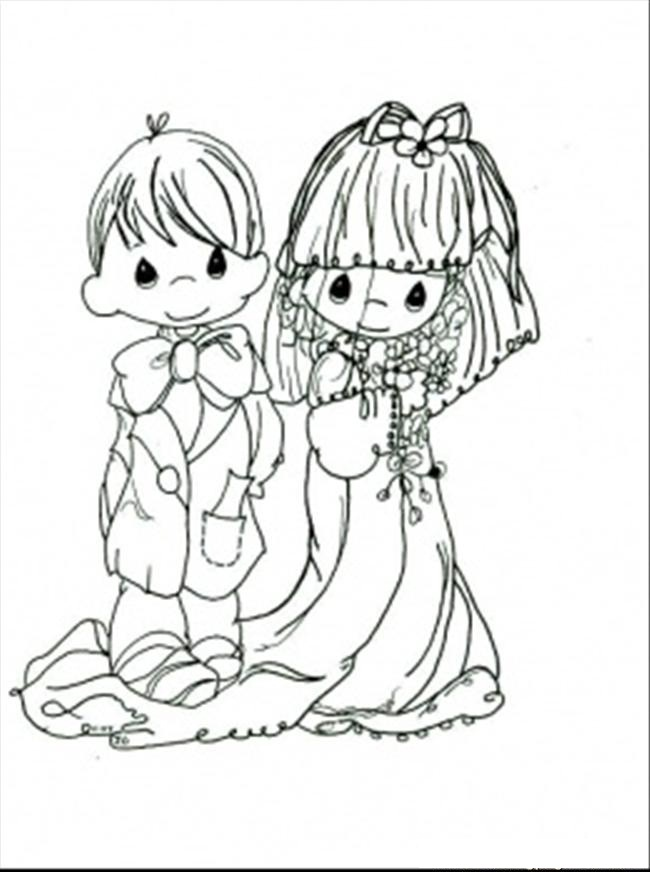 Free printable precious moments coloring pages for kids for Wedding coloring pages to print