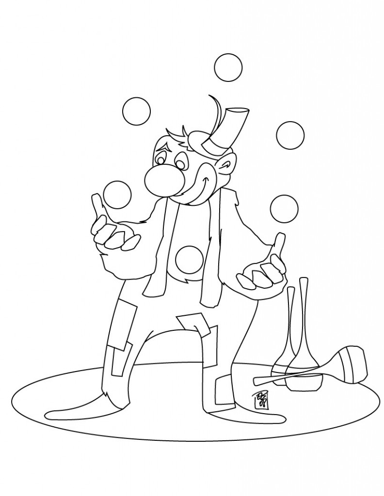 clown party circus coloring pages - photo#48