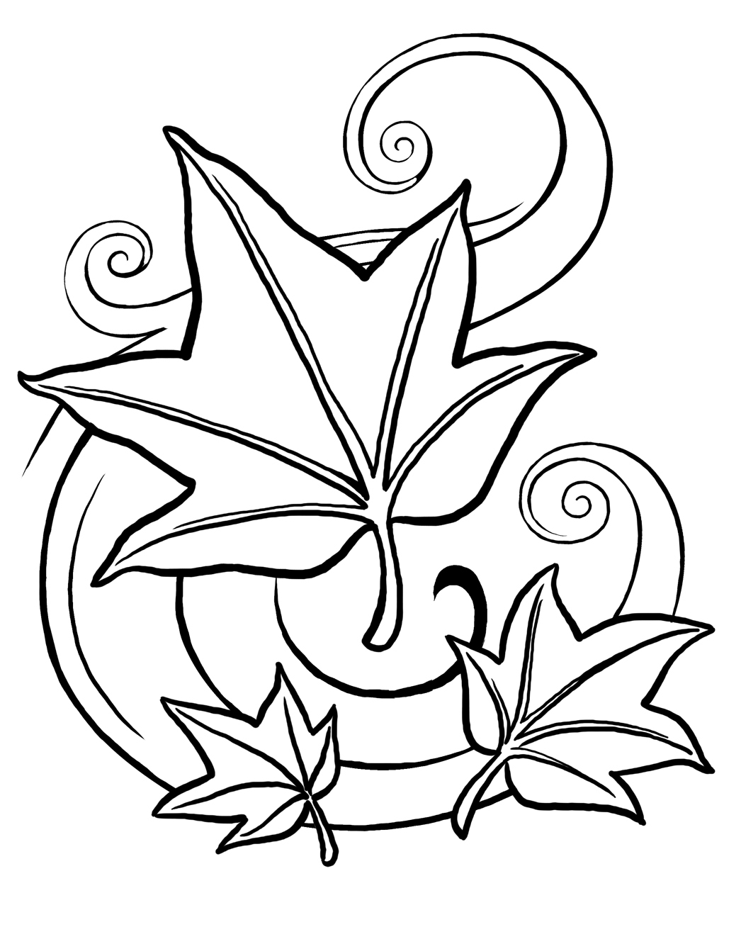 printable leaf coloring page - Tree Leaves Coloring Page