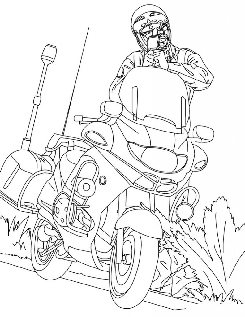 Printable Motorcycle Coloring Page