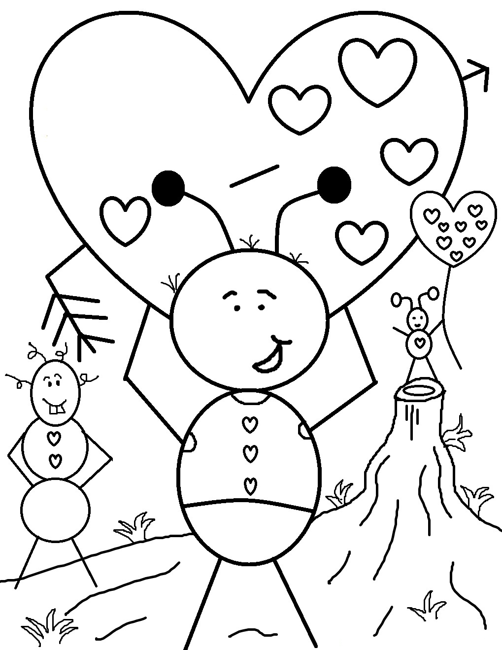 coloring pages for valantine - photo#33