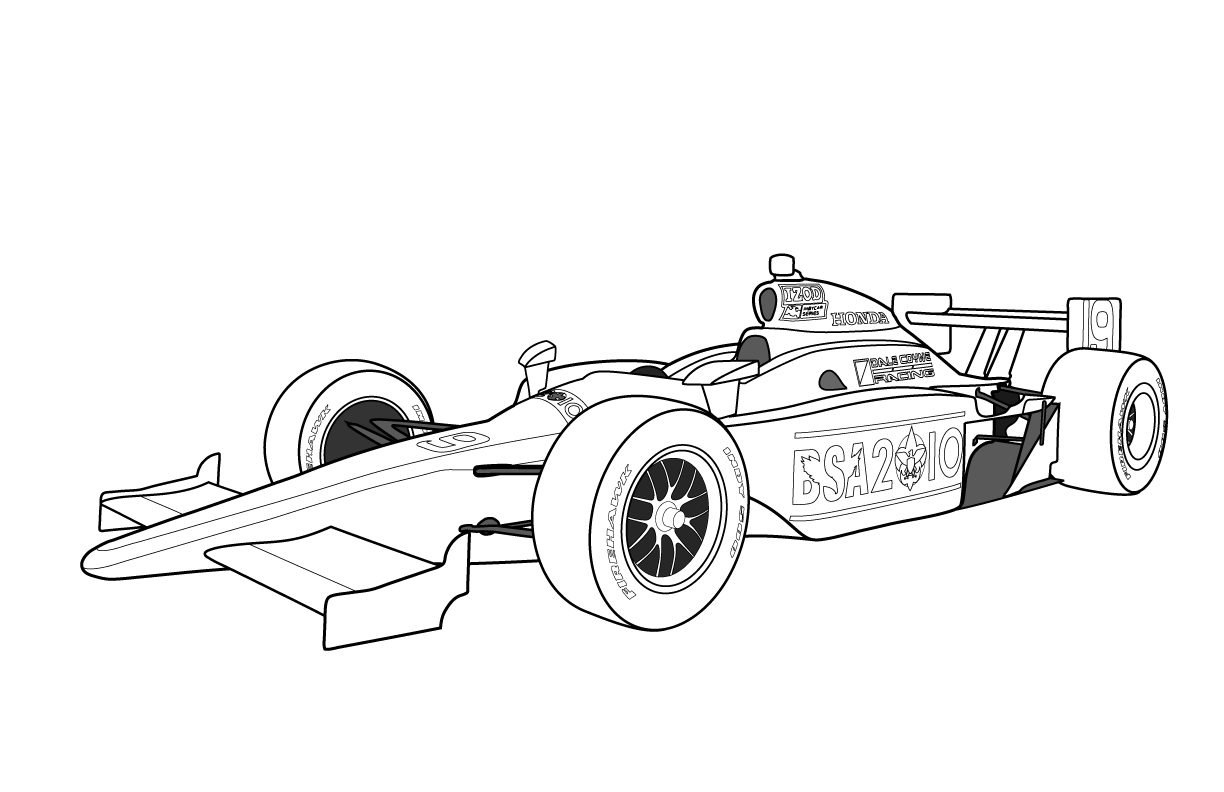Free printable coloring pages vehicles - Racing Car Coloring Pages For Kids Printable