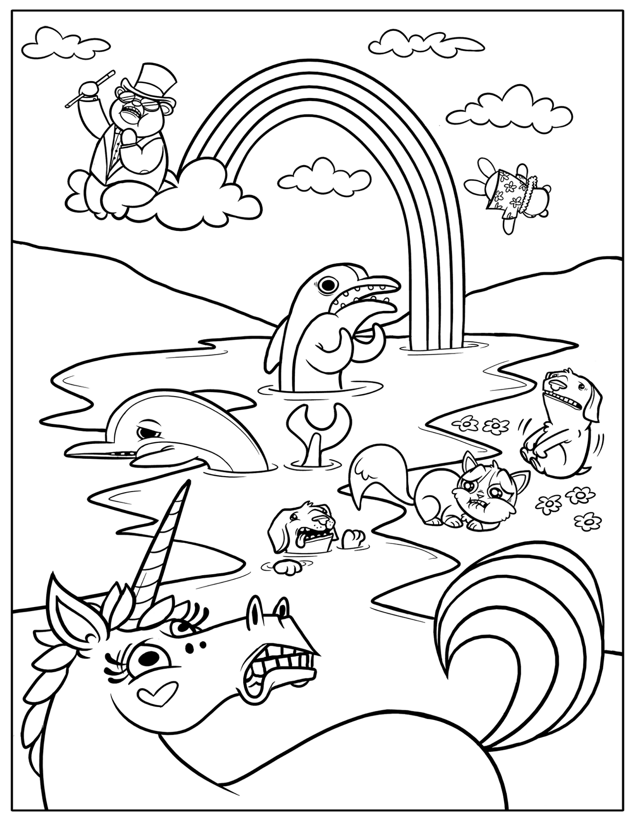 Free printable rainbow coloring pages for kids for Photo to coloring page