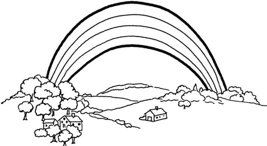 rainbow coloring pages to print - Rainbow Picture To Colour