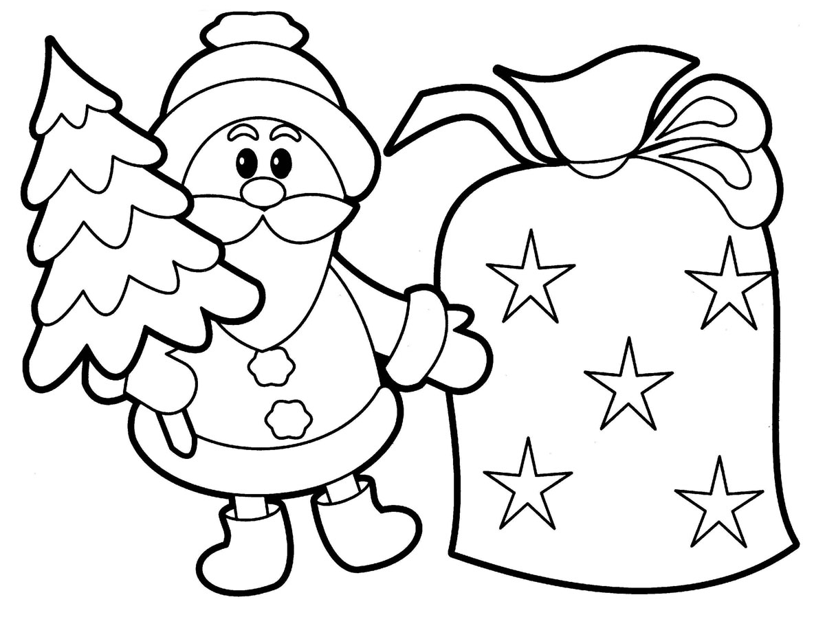 santa coloring pages for kids printable - Drawing For Children To Colour