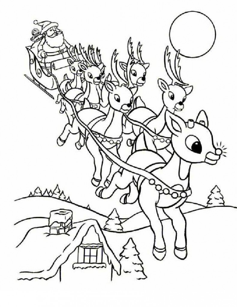 santa with reindeer coloring pages free printable santa claus coloring pages for kids