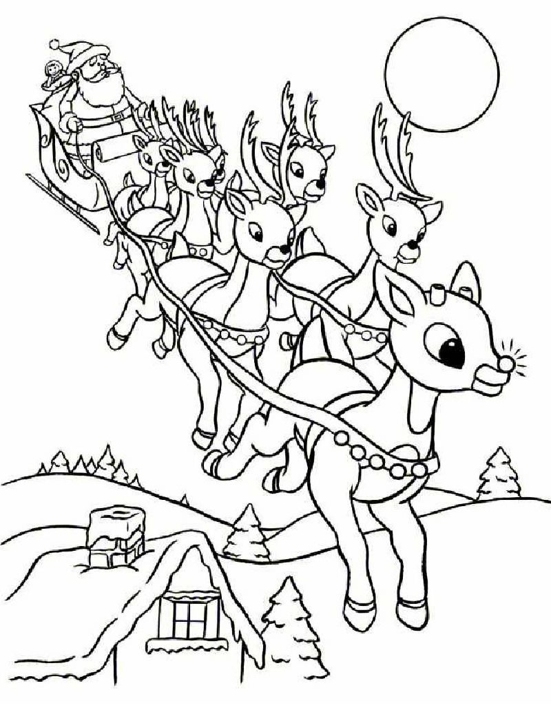 santas sleigh santa coloring pages - Printable Santa Claus Pictures
