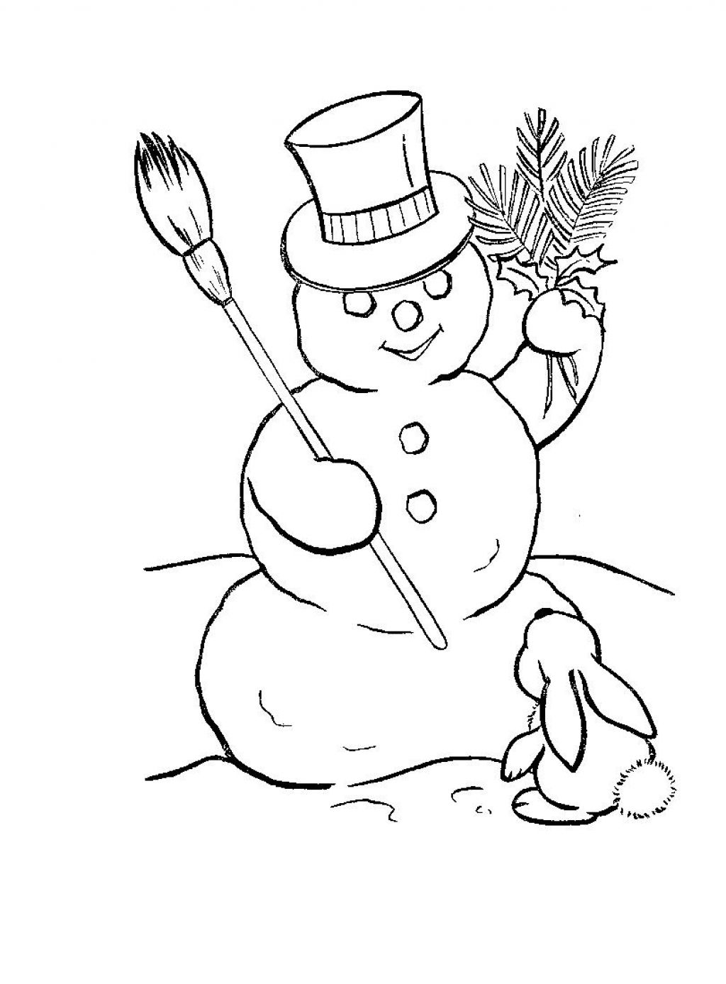 Snowman Template Coloring Pages