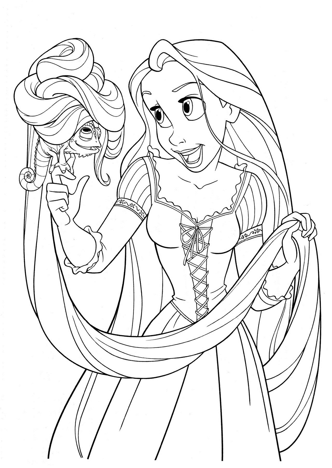 Free printable tangled coloring pages for kids for Tangled coloring pages