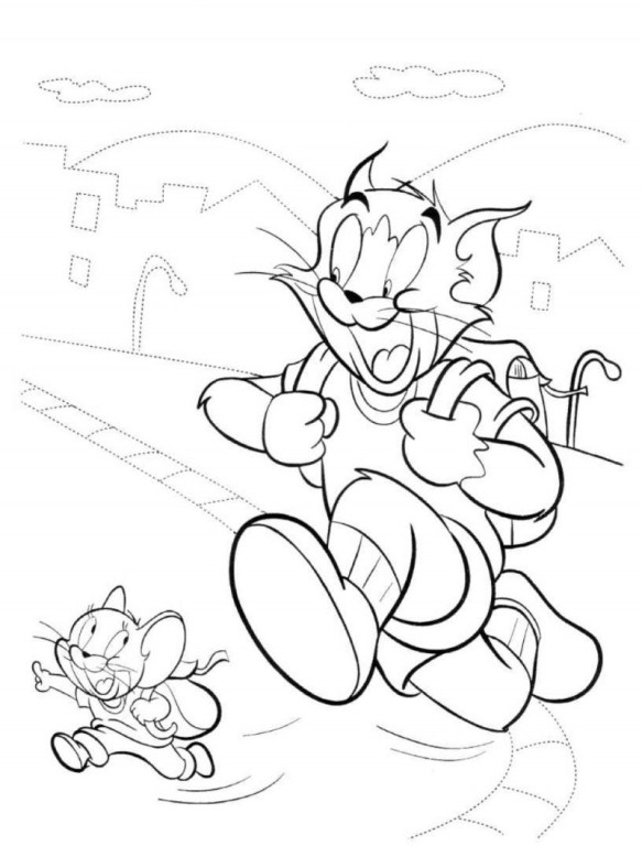 Tom and Jerry Going To School Coloring Pages