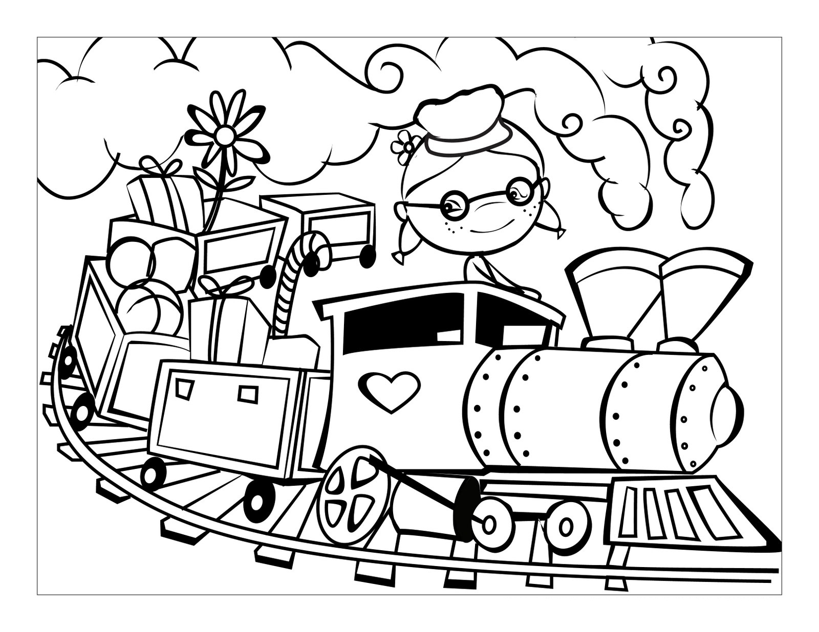 Free Coloring Pages Of A Car : Free printable train coloring pages for kids