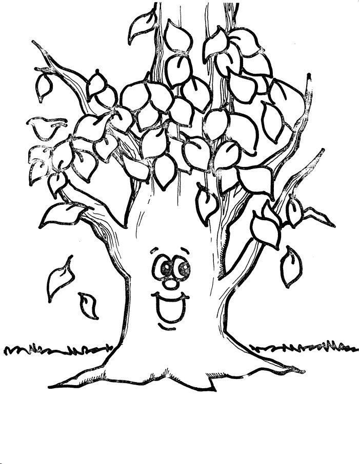 tree leaves coloring pages - Tree Leaves Coloring Page