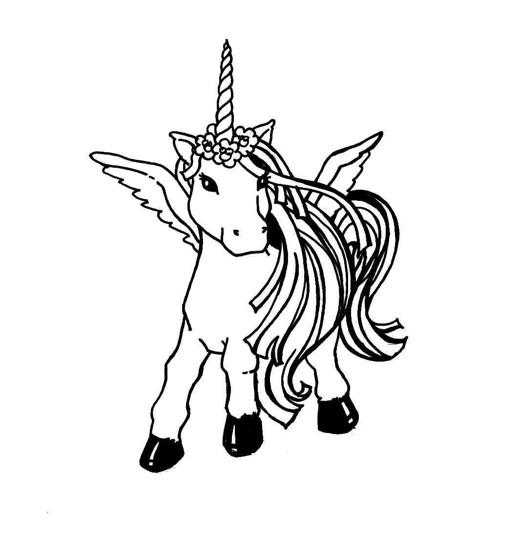 Free printable unicorn coloring pages for kids for Rainbow unicorn coloring pages