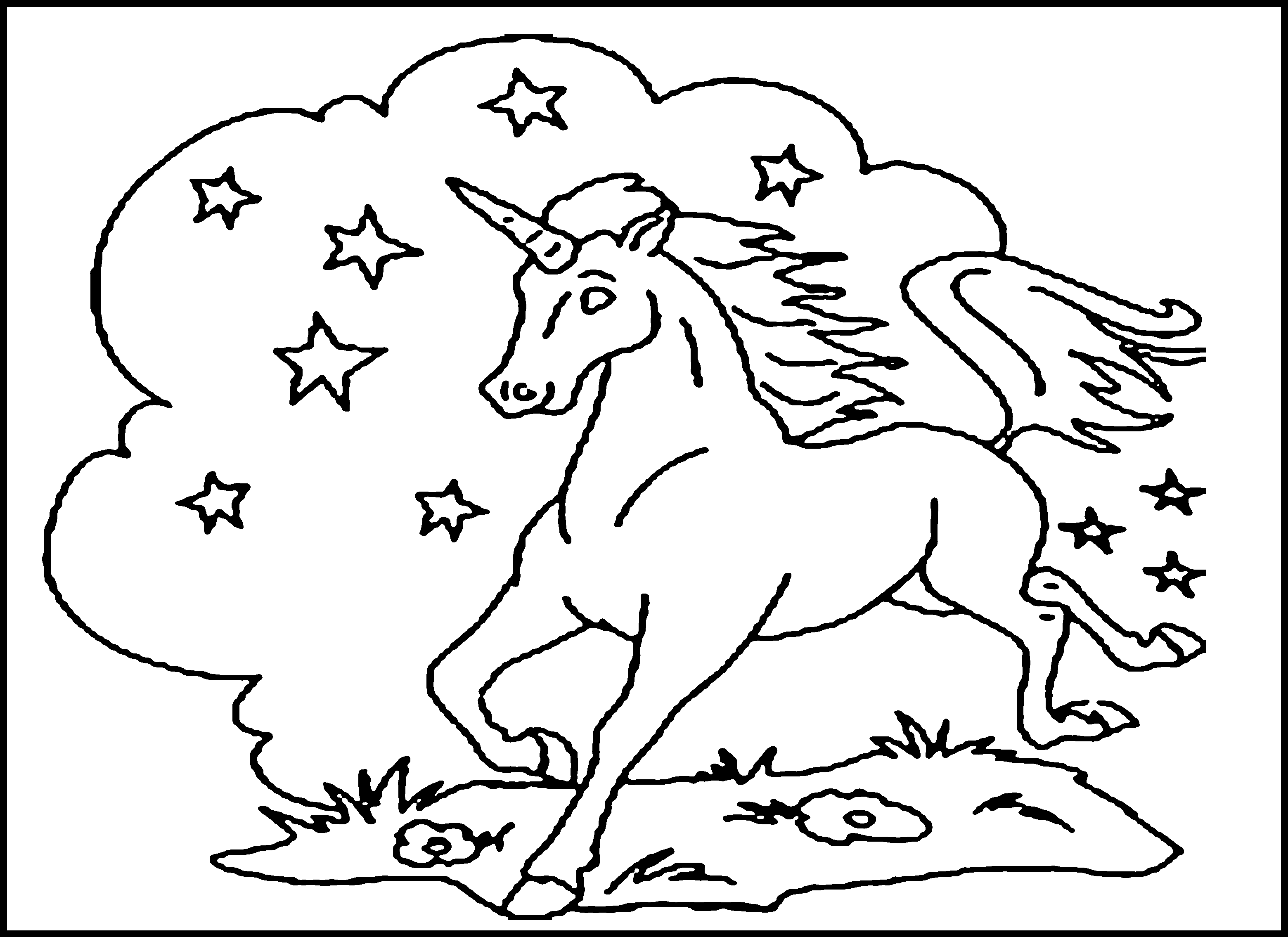 Childrens animal colouring pages - Unicorn Printable Coloring Pages