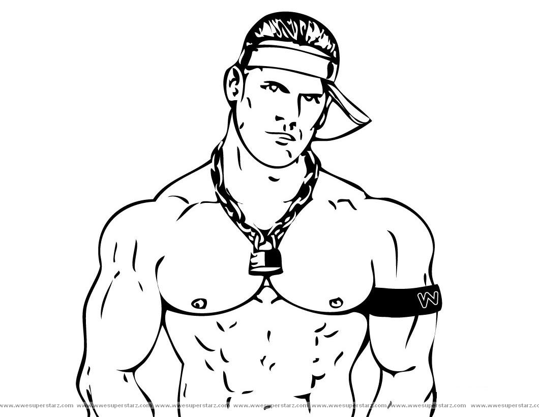 wwe john cena coloring pages - Wwe Pictures To Colour