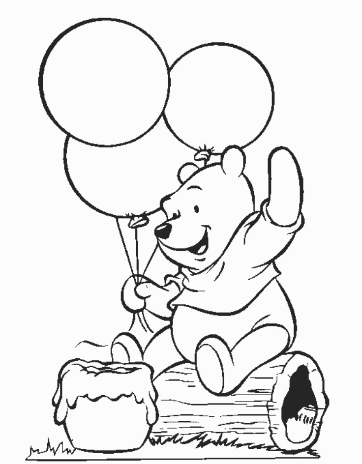winnie the pooh coloring pages birthday - Pooh Coloring Pages