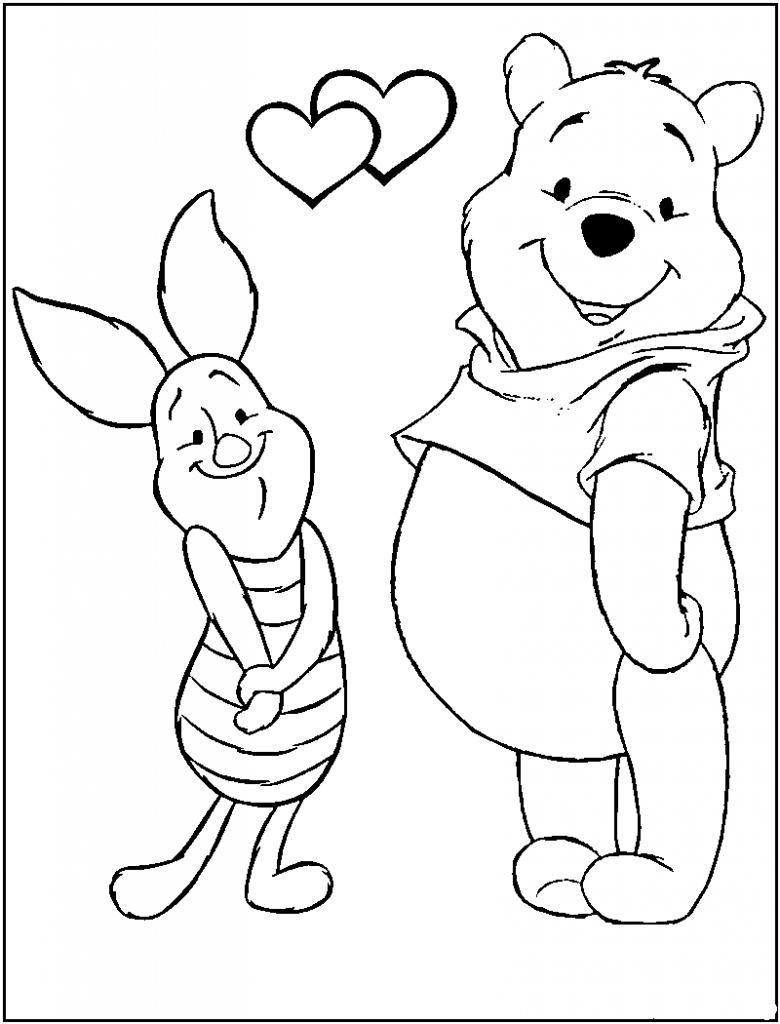 Winnie The Pooh Valentine Coloring Pages