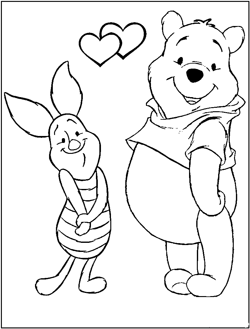 Free printable winnie the pooh coloring pages for kids for Winnie the pooh valentine coloring pages