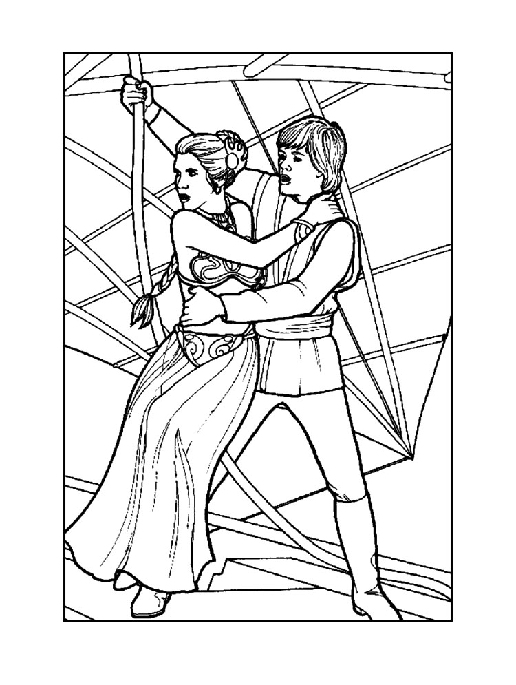luke and princess leia coloring page