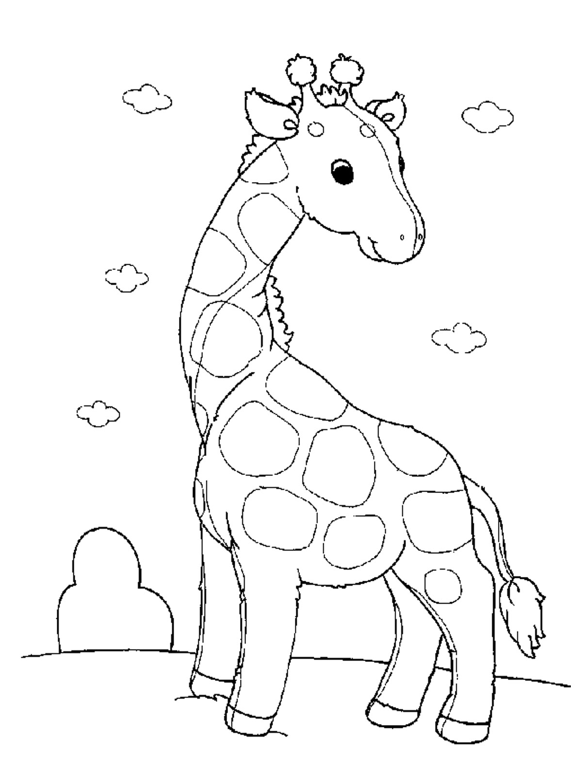 Free printable giraffe coloring pages for kids for Baby animal coloring page