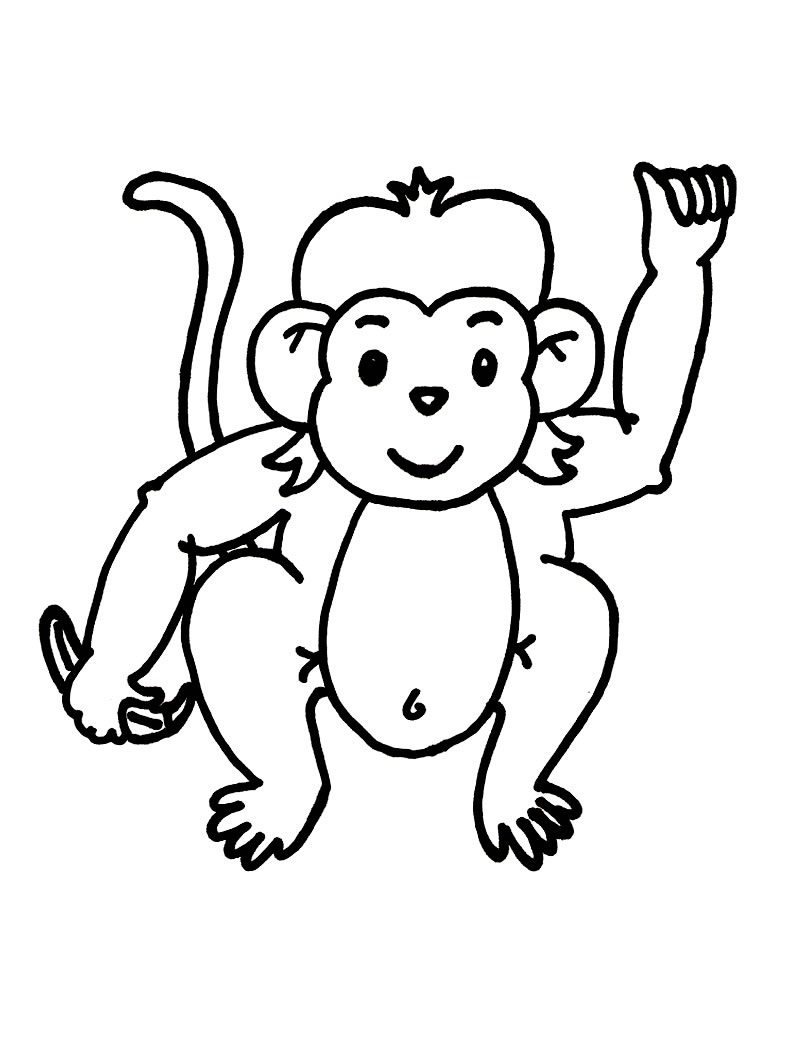 baby monkey coloring pages - Monkey Coloring Pages