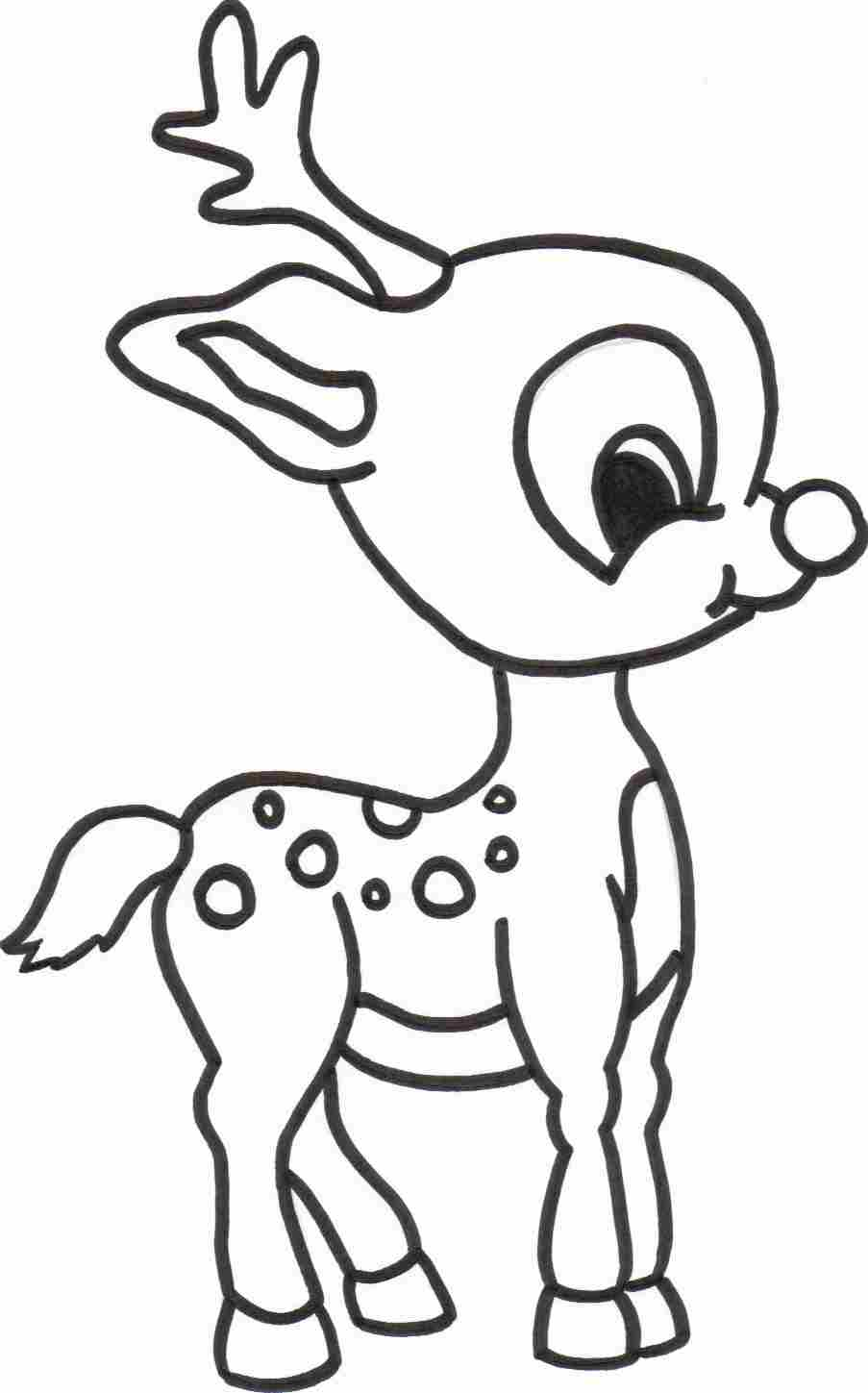 Beautiful Baby Reindeer Coloring Page