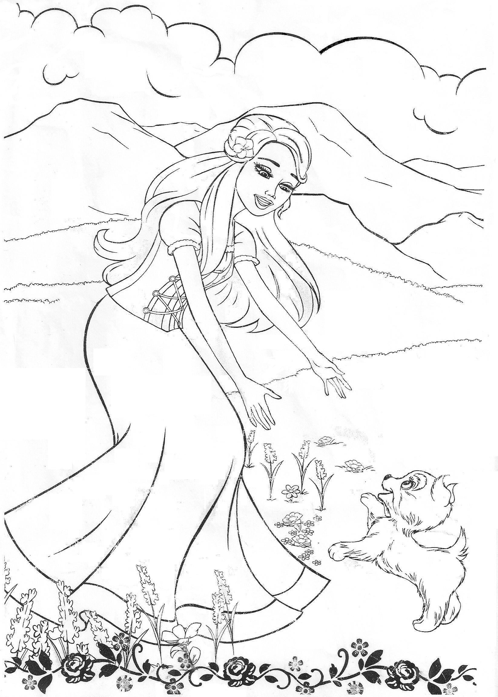 Free printable coloring pages barbie princess - Barbie Color Page