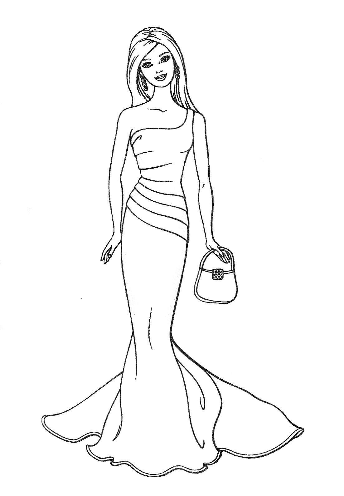Barbie Actions Colouring Pages