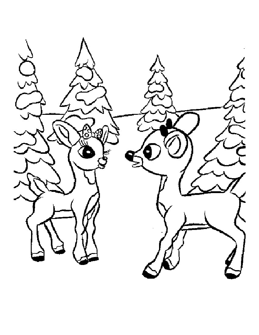 Free coloring pages for christmas printable - Cartoon Reindeer Coloring Pages