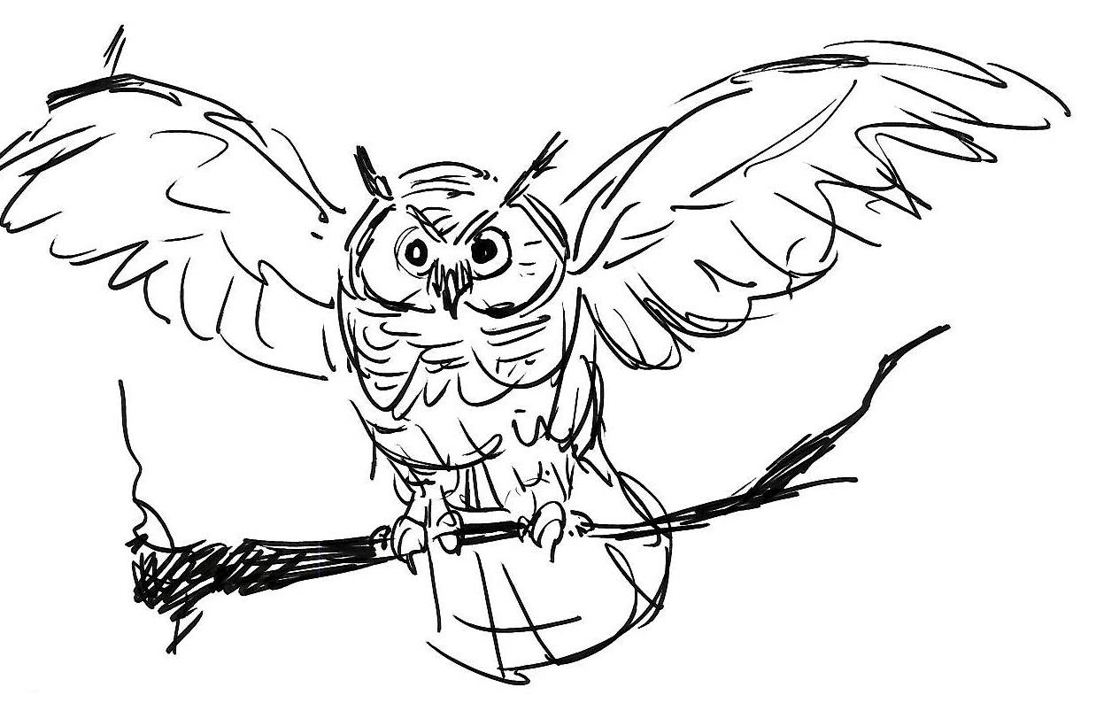 Snowy Owl Simple Coloring Pages