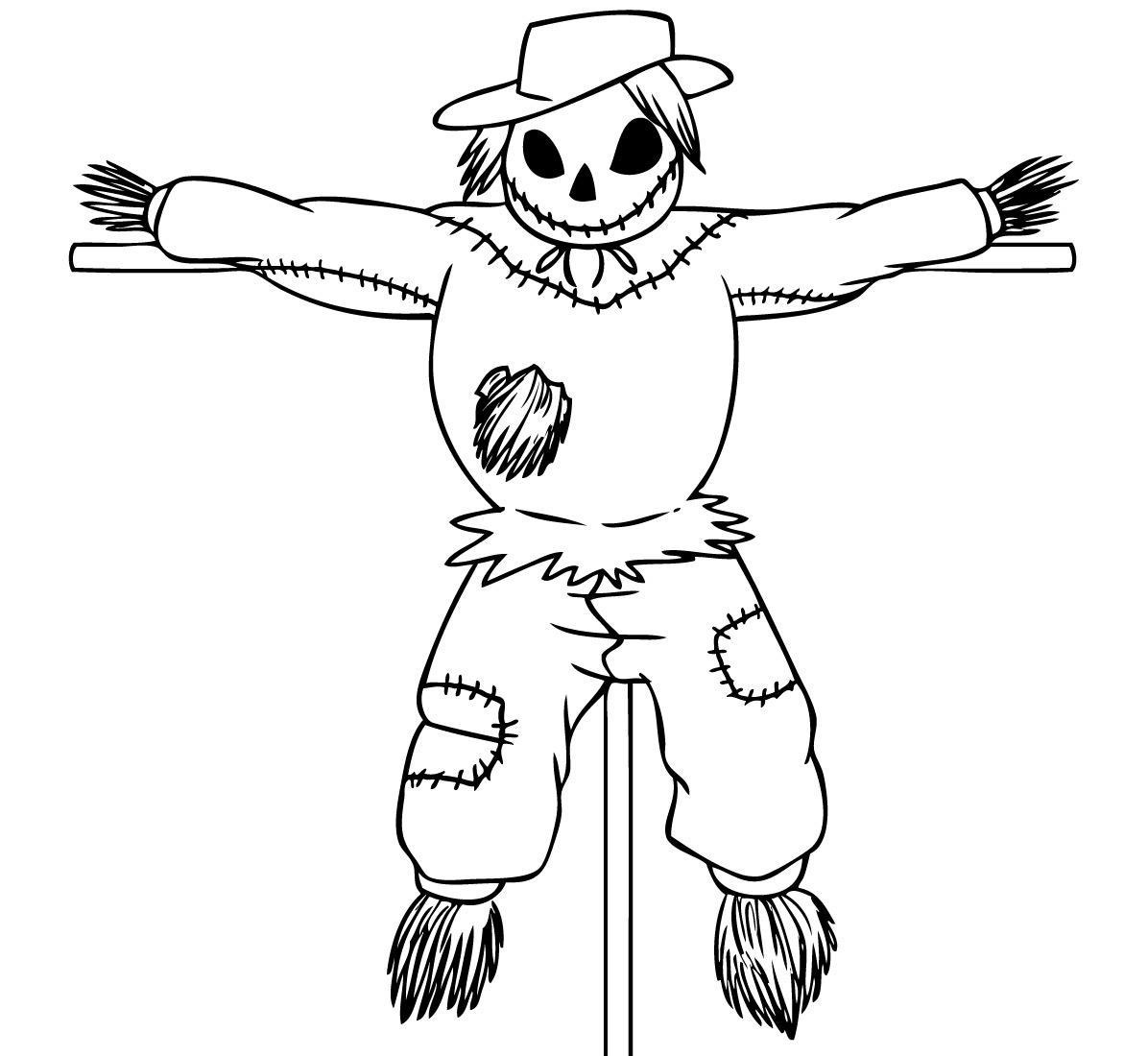 Printable Scarecrow Coloring Pages For Kids