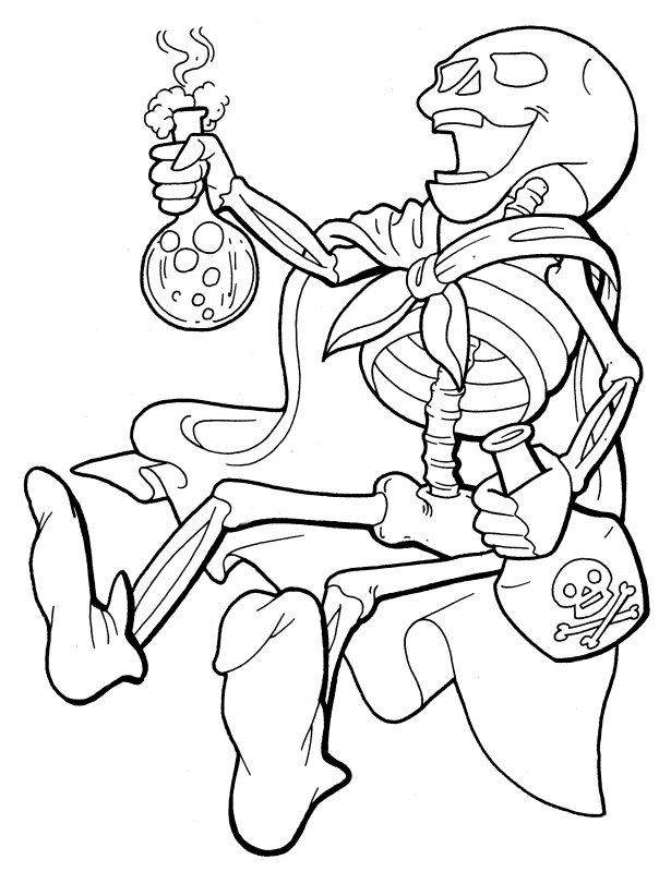 coloring pages skeleton - Halloween Skeleton Coloring Pages