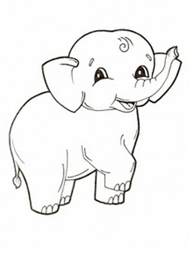 This is a picture of Persnickety Elephant Color Sheet