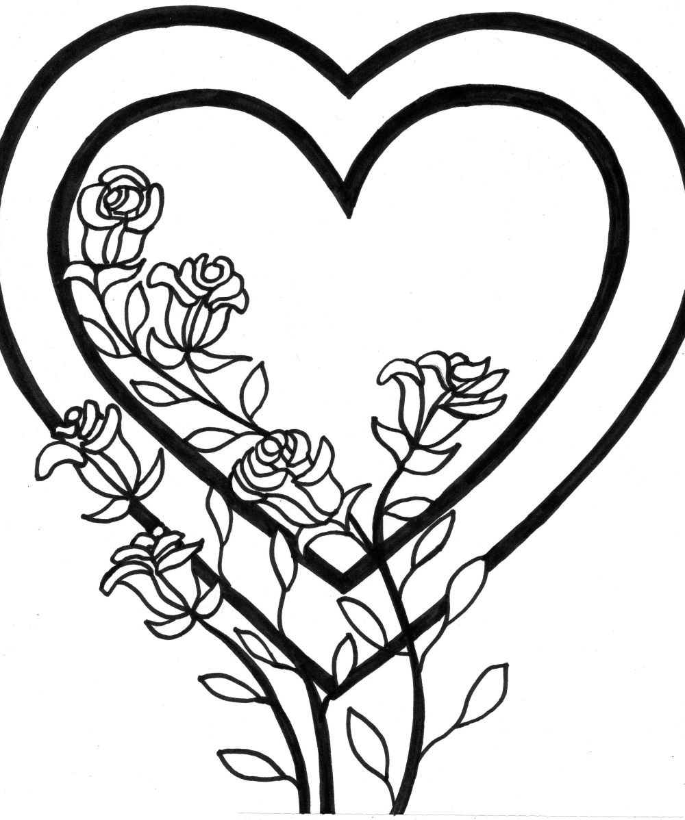 coloring pages of hearts and roses - Coloring Pages Hearts Roses