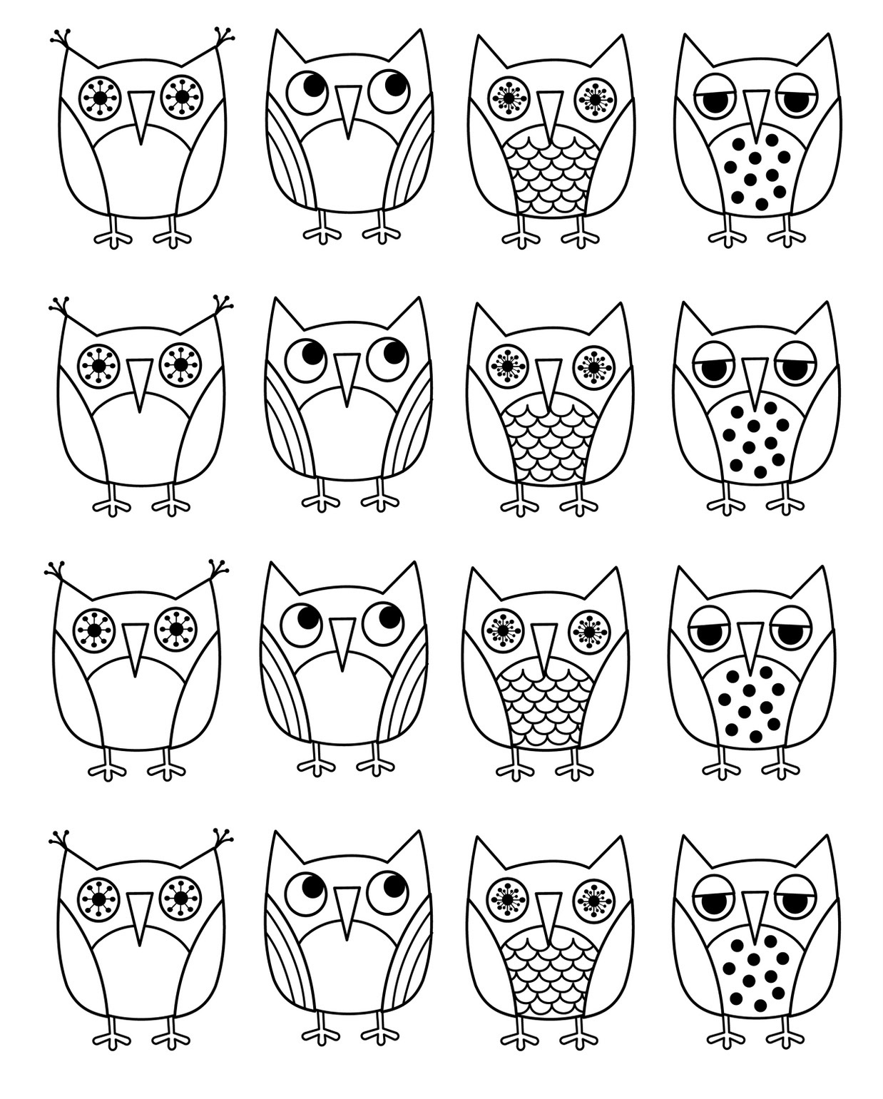 coloring pages of owls for kids - Cute Owl Printable Coloring Pages