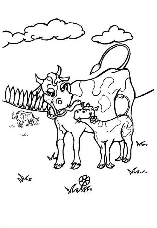 Free printable cow coloring pages for kids - Dessin de vache ...