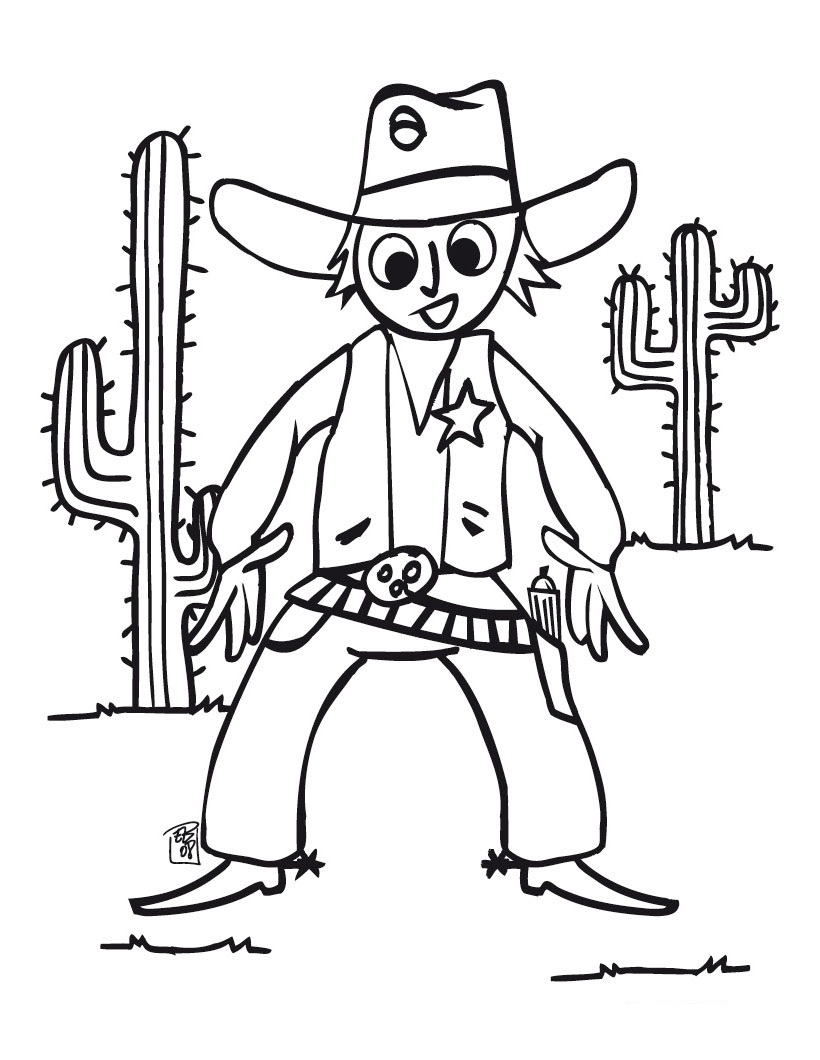 free printable cowboy coloring pages for kids