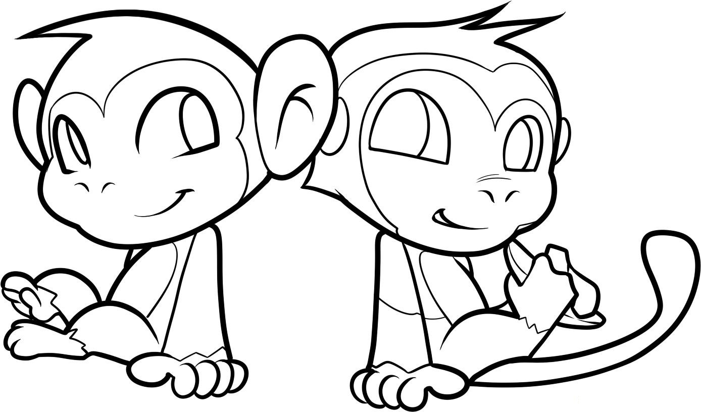 cute monkey coloring pages - Coloring Pages Of Monkeys