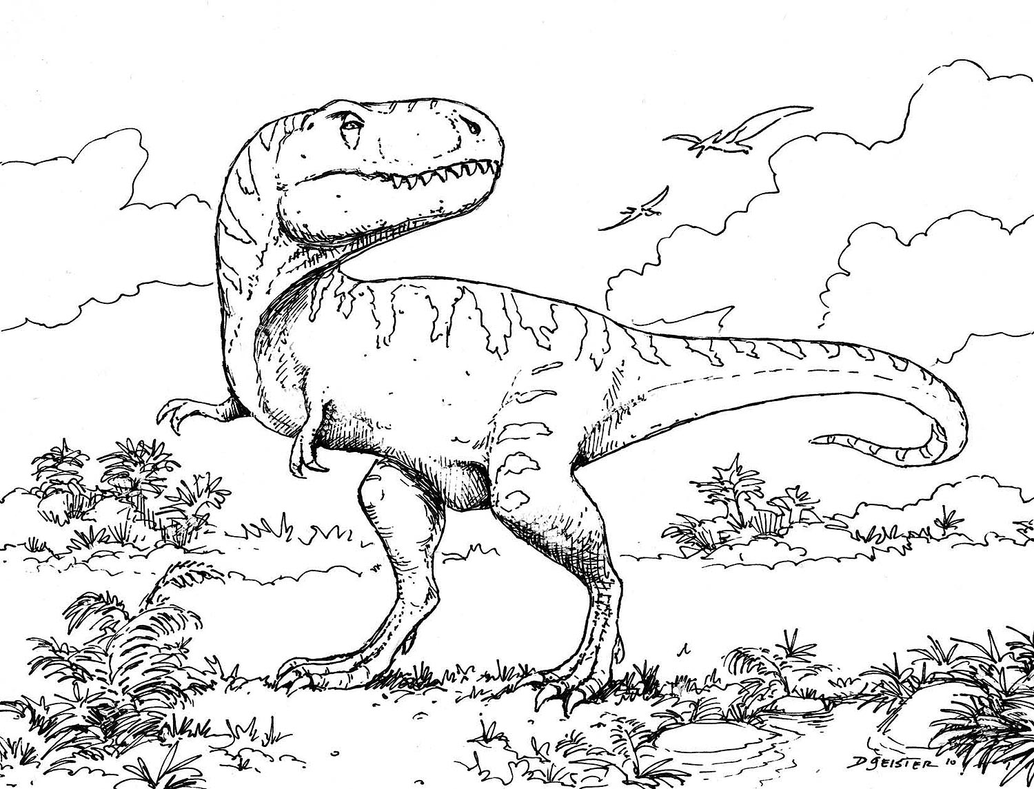 Childrens coloring dinosaur pages - Dinosaur Printable Coloring Pages