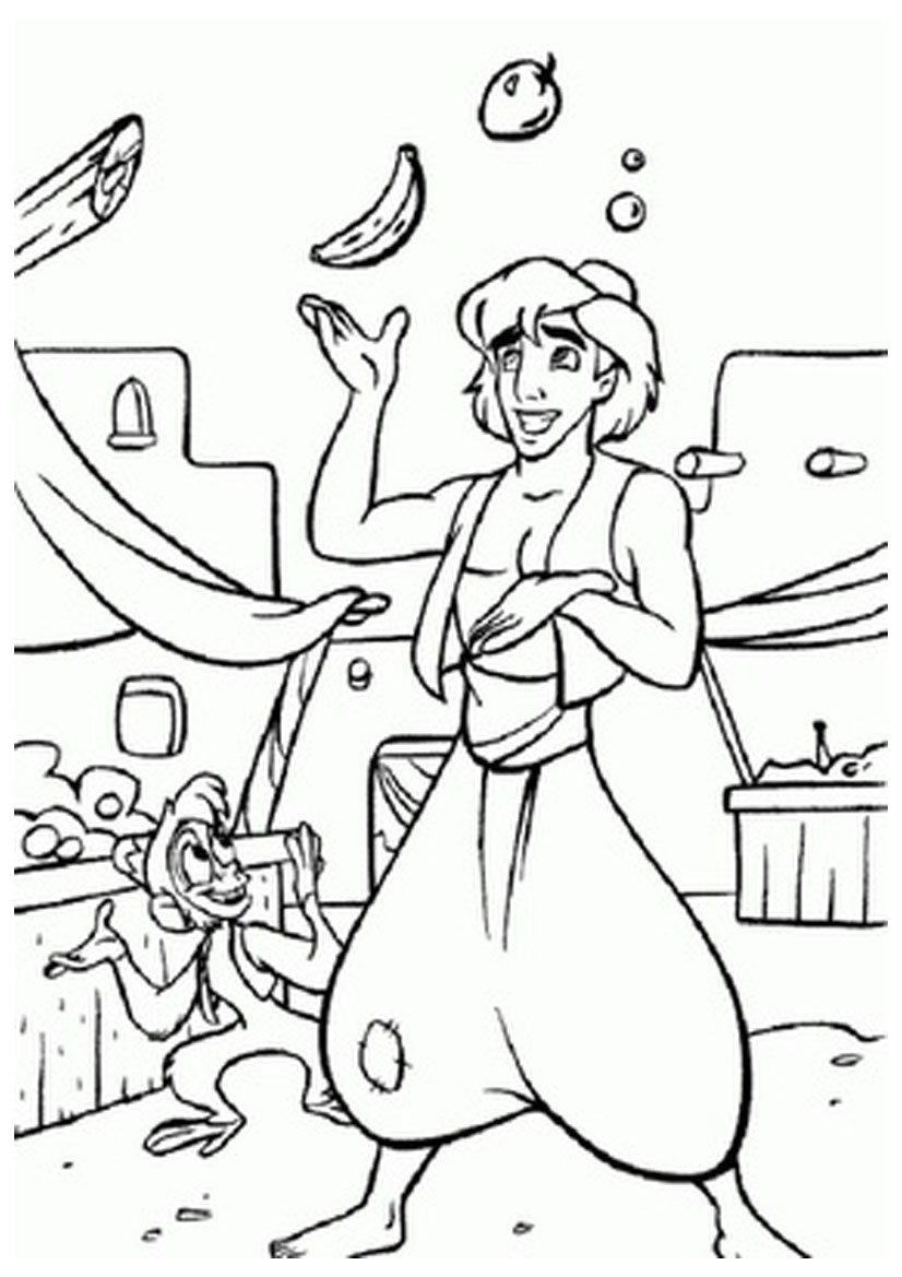 Image Result For Coloring Pages Disney Genie And Aladdin