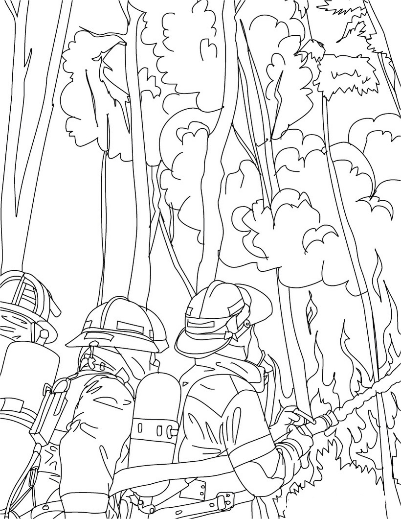 Free printable firefighter coloring pages for kids for Fire coloring page
