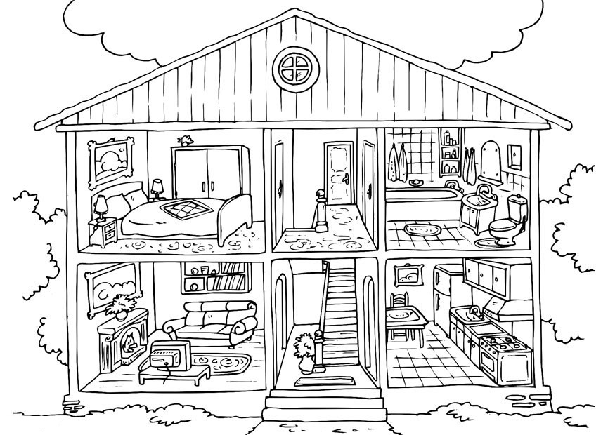 Mansion Outline Kids Colouring Page
