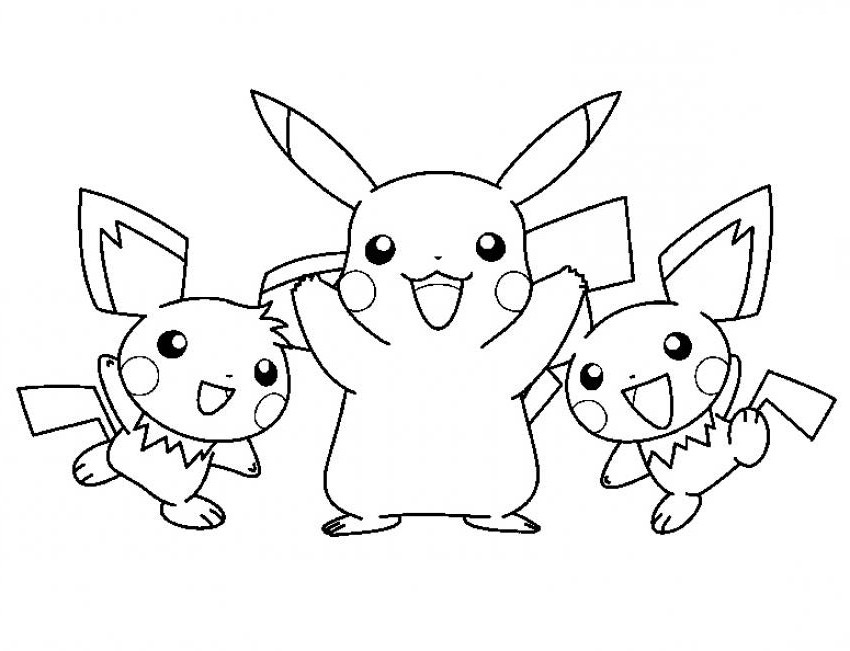 pikachu in action coloring pages - photo#24